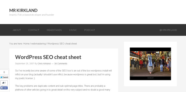 Wordpress SEO cheat sheet