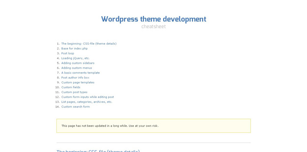Wordpress Theme Development Cheatsheet